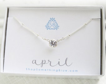 April Birthday Gift • Simple CZ Necklace on Satellite Chain • Cubic Zirconia Birthstone • Simulated Diamond • Faceted Bezel Set CZ Stone
