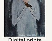 Digital Print. Girl & Wren Bird Figure Painting. Muted colors. Whimsical Room Decor. Friend Art Print Gift. Wall Art Prints