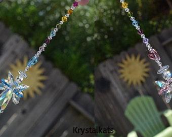 "7"" Long, Guardian Heart Angel Rainbow Baby Boy or Rainbow Baby Girl Beaded Swarovski Crystal Suncatcher Hanging Window Ornament Car Charm"