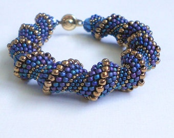 blue beadwork bracelet