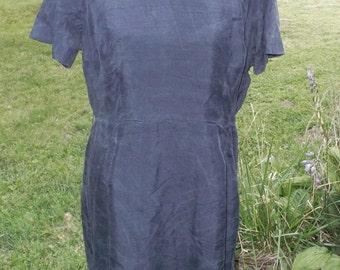 50s 60s Vintage Navy Blue Silk Dress by Lady Petite 44 Bust 33 Waist Volup