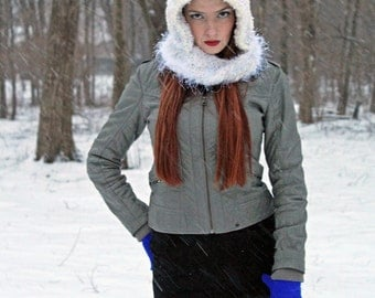 White Hooded Mobius Scarf