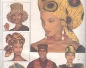 Butterick 3470 Unisex African Fashion Adult Accessories Pattern Hat Headwrap Stole Bow Tie Vest Mens Womens Sewing Pattern UNCUT