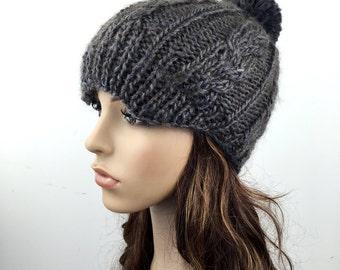 Hand knit hat woman hat Newsboy cap hat Olive hat pom pom hat wool hat