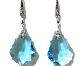 Something Blue Bridal Earrings, Aqua Wedding Earrings, Swarovski Bridal Jewelry, Crystal Wedding Jewelry, Dangle Earrings, Gift for Her DIVA