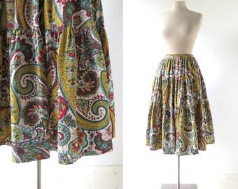 Vintage 1940s Skirt / La Aventurera / Paisley Skirt / 40s Skirt / 26W XS