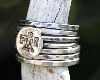 Sterling Silver Stacking Ring Sterling Silver Ring Stackable Rings Thunderbird Ring Southwestern Jewelry Bird Ring Eagle Ring Hawk Ring