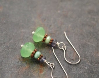 Iolite, Chrysoprase and Mint Green Chalcedony Earrings