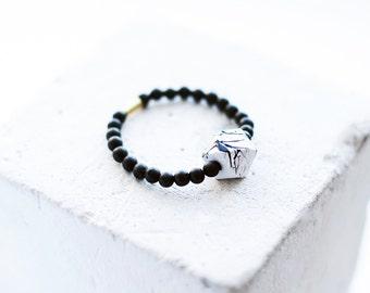 Black White Geometric Bracelet / Wood Agate Bracelet / Modern Bracelet