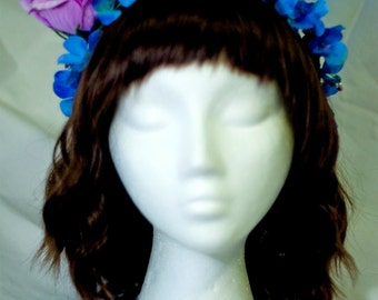 Periwinkle Flower Crown Headband with Purple Rose Accent