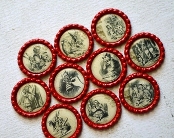 Alice in Wonderland Bottlecap Magnets- Vintage Looking Alice in Wonderland Magnets- Strong Bottlecap Magnets- Alice Kitchen Magnets