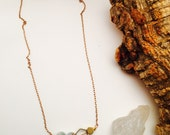 Brass Honeycomb and Jasper Minimalist Necklace ||  Stone and Hexagon Choker || Crystals Necklace || Raw Stone Jewelry || Natural Stone