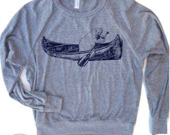 Womens MANATEE (In A Canoe) Tri-Blend Slouchy Pullover hand screen printed S M L (+ Colors)