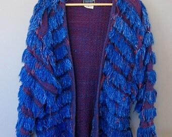 Gorgeous Blue Fringed 80's Coat