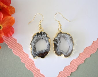 Geode Earrings Gold, Crystal Slice Earrings, Agate, BoHo Jewelry, Druzy Gold Earrings, Drusy Earrings, GGE16
