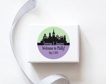 Philadelphia, PA Custom Wedding Welcome Stickers  -  SKYLINE DESIGN