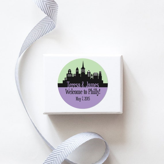 Philadelphia, PA Custom Wedding Welcome Stickers  -  SKYLINE DESIGN
