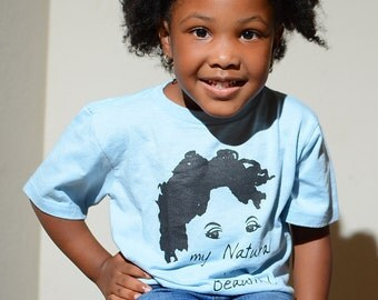 "Kids Light Blue with Black ""My Natural is Beautiful"" T-Shirt"