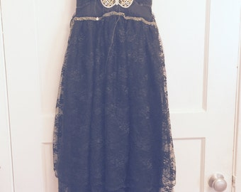 Womens black lace butterfly slip dress small to medium shabby chic boho special occasion