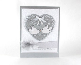 Wedding cards, wedding day cards, congratulations, love birds, embossed wedding cards, elegant wedding cards