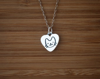 Kitty Cat Charm - Cat Lover Gift - Double Sided - STERLING SILVER - (Charm, Necklace, or Earrings)