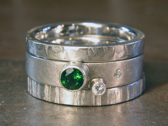 Recycled sterling silver textured stacking ring set. Ethical lab grown moissanite, fair trade imperial diopside, Hand made in the UK