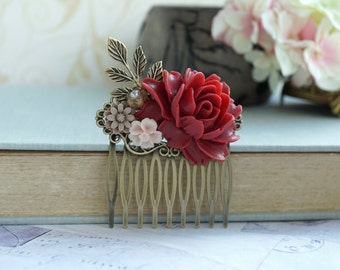 Red Rose Flower Comb Antiqued Brass Hair Comb with Brown and pink accent, Bridesmaid Gift Dark Red Wedding Comb Rustic Vintage Style Wedding