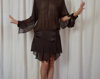 Flapper Dress, Holiday Dress, Cocktail Dress, Silk Dress, New Years Dress, Downton Abbey Dress, Sheer Dress, Chocolate Brown, Dropped Waist
