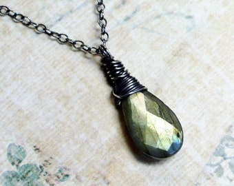 "Labradorite Necklace, Oxidized Sterling Silver - ""Forest Sunset"" by CircesHouse on Etsy"