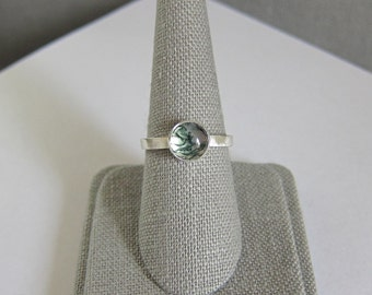 Moss Agate Ring - Size 7.5 - OOAK - Dendritic Agate Ring - Modern Silver Ring - Quartz Ring - Moss Agate - Green Moss Ring - Bezel Ring