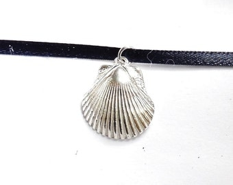 Sterling shell necklace, beach jewelry, dramatic nautical accessory, SCUBA jewelry, oceanography gift, swimmer gift, surfer necklace