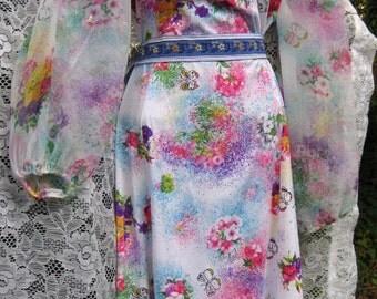 XL to Plus size dress with SHEER BILLOWY Sleeves, womens white dress, dark fairy tale dress