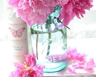 Peonies Photography, Shabby Chic Decor, Peony Prints, Peonies Aqua Pink Mason Jar, Shabby Chic Peony Prints, Pink Aqua Peony Photos Wall Art