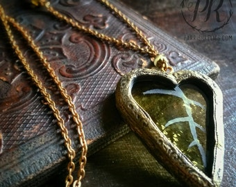 Eirene ~ Etched Stained Glass Leaf Necklace
