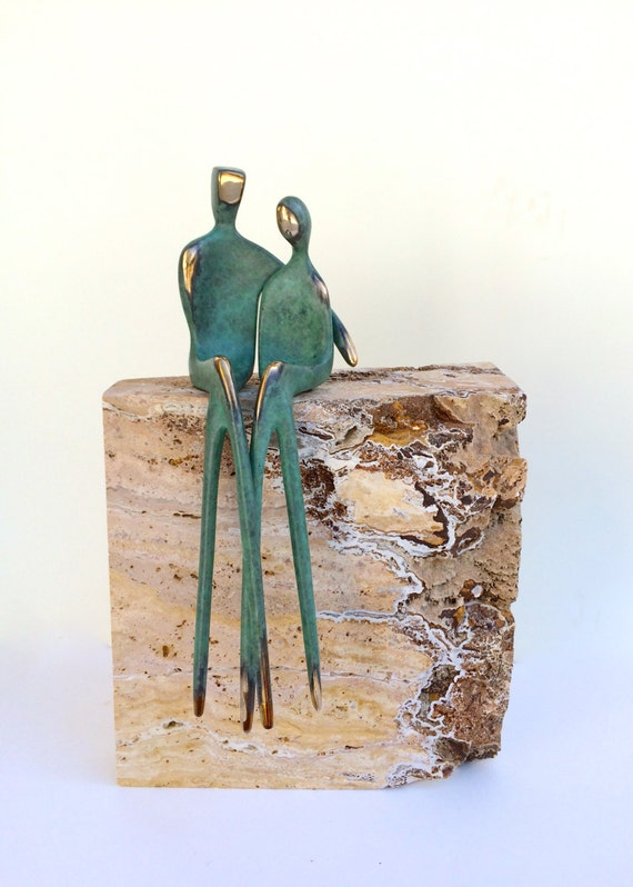 EXQUISITE BRONZE COUPLE >> 12 inch in verdegris green patina, finely-polished bronze lovers from Santa Fe