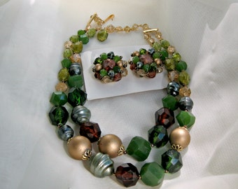 Germany Necklace Earring Set Vintage Signed Costume Jewelry Green Goldtone
