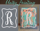 "Initial Decal for Wedding ""Unity Painting"" Canvas, DIY Family Initial Sign, Decorative Letter with Frame, Vinyl lettering (W00919)"