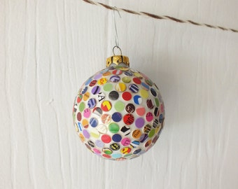 Rainbow Dots Ornament Recycled