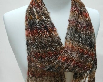 Cotton Scarf- Hand Knit/ Gray, Gold, Multicolored