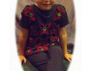 Petals Motifs Pullover Crochet Top Toddler and Adult Size