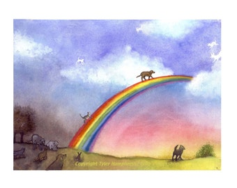 Pets Pet Bereavement Card - Pet Sympathy Card - Dog Sympathy Card - Cat Sympathy Card - Loss Of Pet Card with Poem on Back 'Rainbow Bridge'