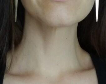 Long Gold Hoop Earrings - Gold Earrings Dangle - Geometric Triangle - Gold Hoop Spike Dagger Earrings Statement Earrings Minimalist Jewelry