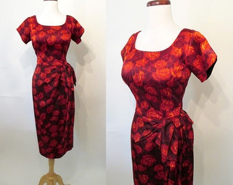 Lovely 1950's Silk Rose Print Cocktail Party Dress Rockabilly VLV Pinup Girl Curvy Hourglass Wiggle Dress Vixen Size-Medium