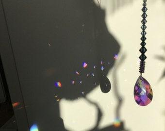 Sun catcher, Crystal Prism rainbow maker, Crystal AB teardrop, with blue ombre Swarovski beads