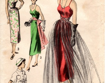 1950s Sexy Bombshell Sundress or Evening Dress with Overskirt Sash Jacket - Vintage Pattern Advance 5392 - Bust 32