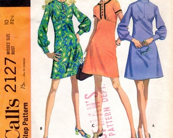 1960s Empire Waist Dress with Full Sleeves - Vintage Pattern McCalls 2127 - Bust 32