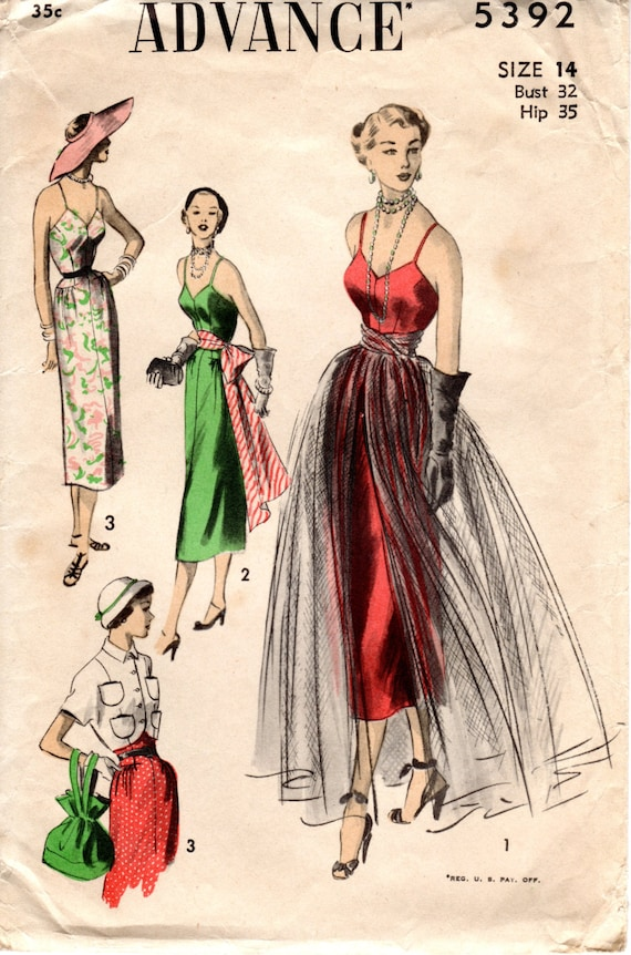 1950s Sexy Bombshell Sundress Or Evening Dress With Overskirt
