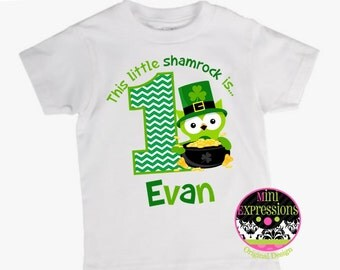 St. Patrick's Day Birthday Shirt or Bodysuit Personalized With Any NAME and AGE
