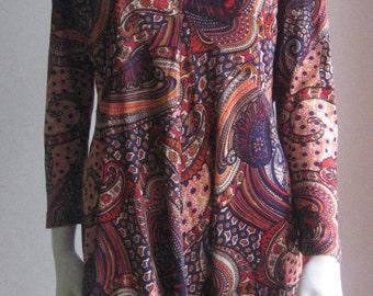 70s vintage paisley mini dress tunic