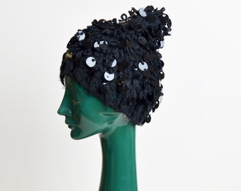 Vintage 60s 70s Black Sequin Knit Hat
